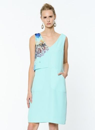 V Yaka Askılı Kısa Elbise-Soie Design